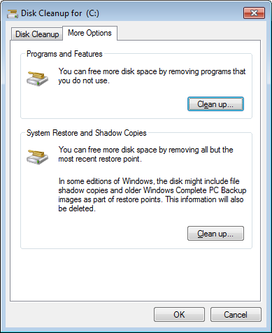 Disc Cleanup window, More Options tab, Program and Features and System Restore and Shadow Copies settings.