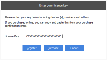 Enter license key screen - License key entered with additional blank spaces at the end