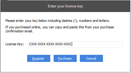 Enter license key screen - License key entered without any additional blank spaces at the end