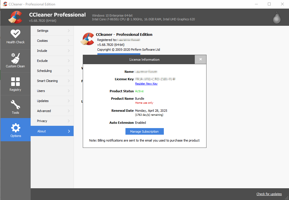 CCleaner Professional, Options, About window displaying Licence information