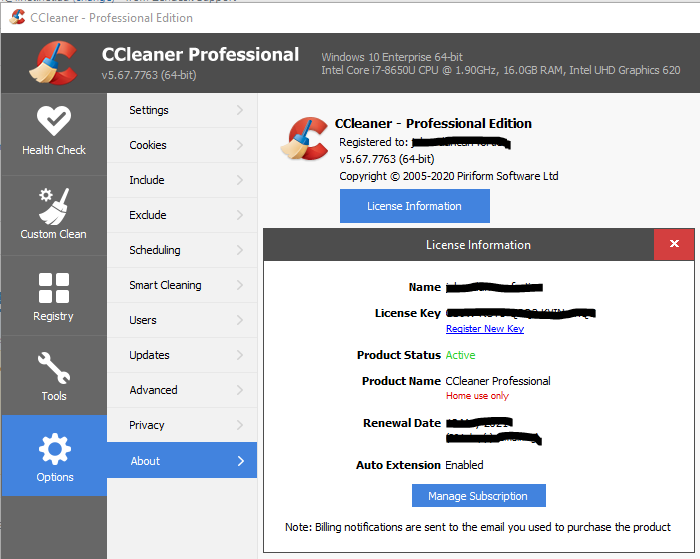 Screenshot of CCleaner license information screen