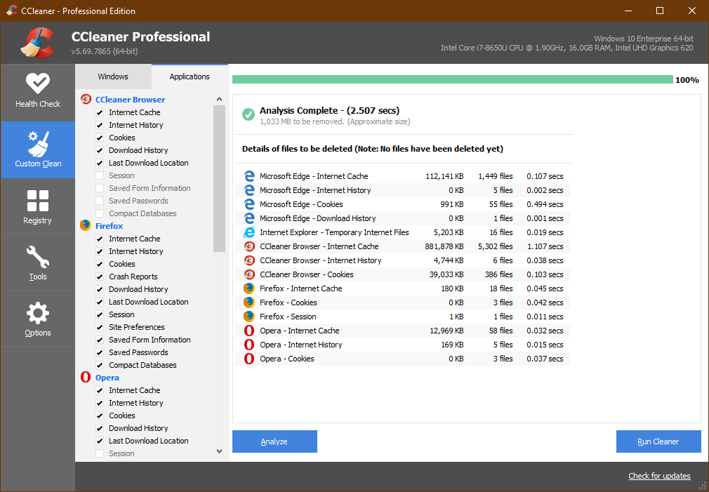 CCleaner Professional, Custom Clean, Application window