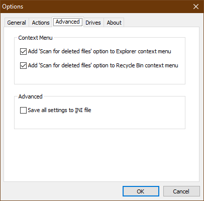 Within the Options screen, Advanced tab, the Context Menu and Advanced settings are listed above