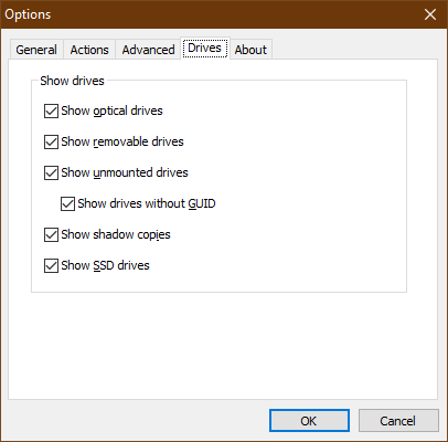 Within the Options screen, Drives tab, the Show drives settings are listed above