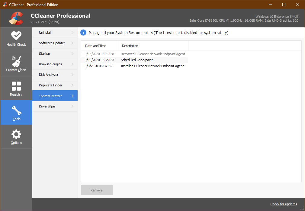 CCleaner Professional, Tools, System restore window