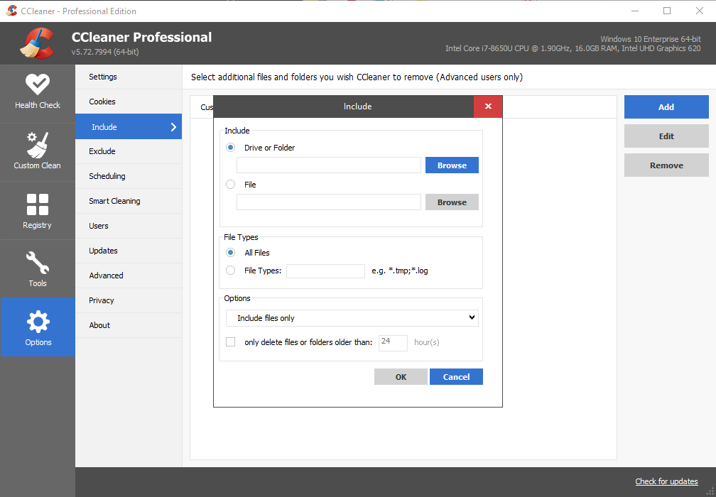 CCleaner Professional, Options, Include, Add window