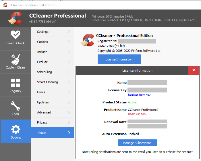 CCleaner Professional, Options, About window, License information